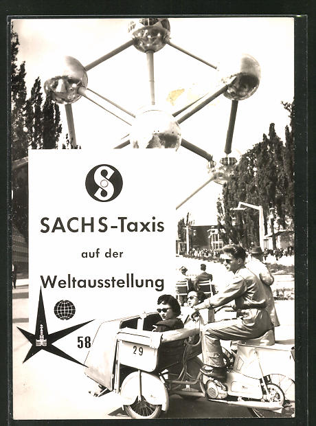 AK Brüssel, Weltausstellung 1958, Motorrad Sachs-Taxis auf dem Ausstellungsgelände