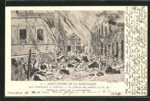 AK Saint-Pierre de la Martinique, Rue conduisant a l'Hôpital..., Verwüstung nach Vulkanausbruch
