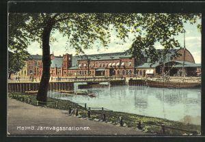 AK Malmö, Järnvägsstationen, Blick zum Bahnhof