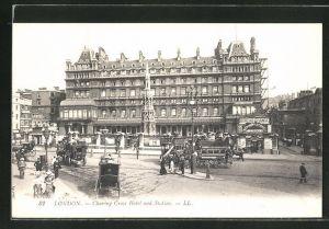 AK London, Charing Cross Hotel and Station, Bahnhof Charing Cross