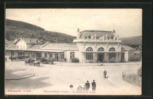 AK Gérardmer, La Gare et la Place, Bahnhof