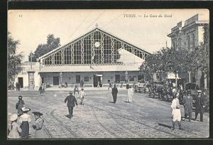 AK Tunis, La Gare du Nord, Am Bahnhof
