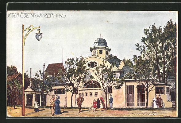 Künstler-AK Ulf Seidl: Wien, I. Intern. Jagd-Ausstellung 1910, Nieder-Österr. Winzerhaus