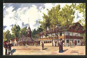 Künstler-AK Ulf Seidl: Wien, I. Intern. Jagd-Ausstellung 1910, Jagdhaus Sr. Durchl. Fürst Hohenlohe