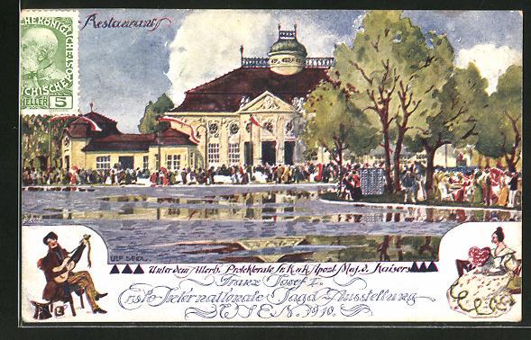 Künstler-AK Ulf Seidl: Wien, I. Intern. Jagd-Ausstellung 1910, Restaurtant