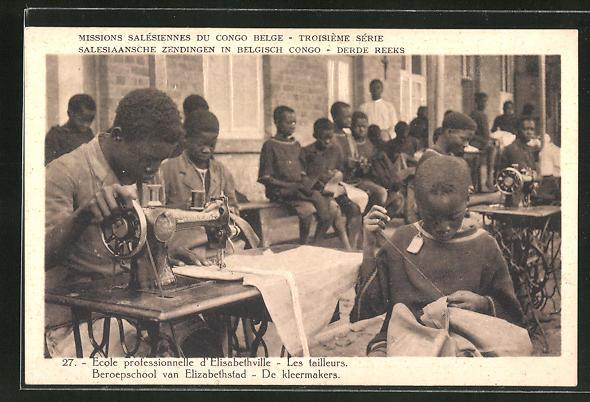 AK Elisabethville, École professionelle, Les tailleurs, Scheiderschule einer Mission in Belgisch-Kongo, Nähmaschinen