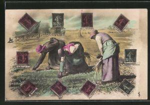 AK Le Langage de Timbre, Briefmarkensprache, Feldarbeiterinnen