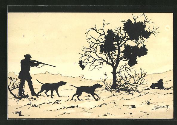 Künstler-AK Rolf Winkler: Hasenjagd, Einladung zur Jagd