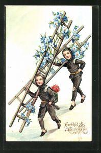 AK Hartelijke Gelukwensch, kleine Schornsteinfeger mit geschmückten Leitern