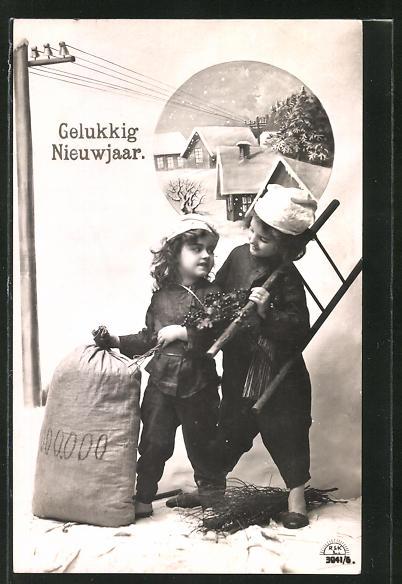 AK Gelukkig Nieuwjaar, zwei kleine Schornsteinfeger mit Geldsack
