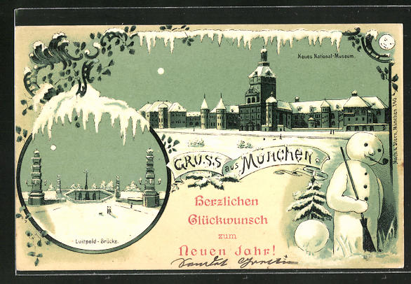 Winter-Lithographie München, Neues National-Museum und Luitpold-Brücke mit Schneemann