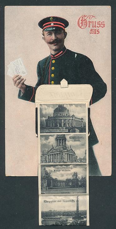 Leporello-AK Berlin, Briefträger mit Posttasche voller Ansichten, Brandenburger Tor, Neues Museum