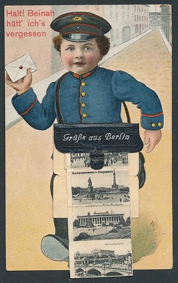 Leporello-AK Berlin, Briefträger mit Posttasche voller Ansichten, Schloss, Zeughaus, Dom