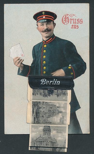 Leporello-AK Berlin, Briefträger mit Posttasche voller Ansichten, Reichstagsgebäude, Siegessäule