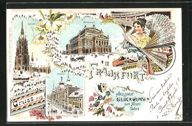 Winter-Lithographie Frankfurt, Postamt, Dom, Opernhaus, Frau mit Fächer