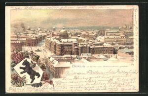 Winter-Lithographie Berlin, Blick auf die Stadt vom Rathausturm, Berliner Wappen