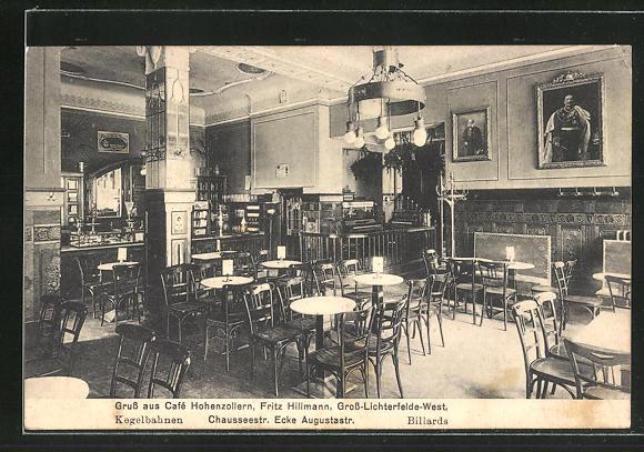 Ak Berlin Gross Lichterfelde Cafe Hohenzollern Chausseestrasse Ecke Augustastrasse