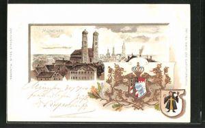 Passepartout-Lithographie München, Frauenkirche im Stadtbild