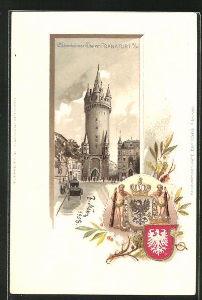 Passepartout-Lithographie Frankfurt, Eschenheimer Thurm, Wappen