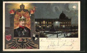 Lithographie Berlin, Königl. Schloss im Vollmond, Portrait des Kaiser Wilhelm II.