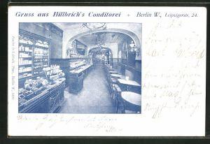 AK Berlin, Hillbrich's Conditorei in der Leipzigerstrasse 24, Innenansicht