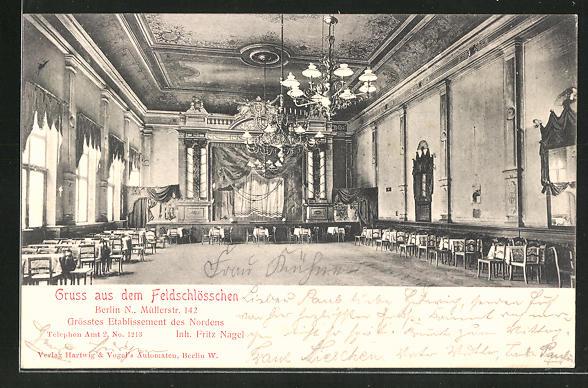 AK Berlin-Wedding, Café Feldschlösschen in der Müllerstrasse 142, Inh. Fritz Nagel