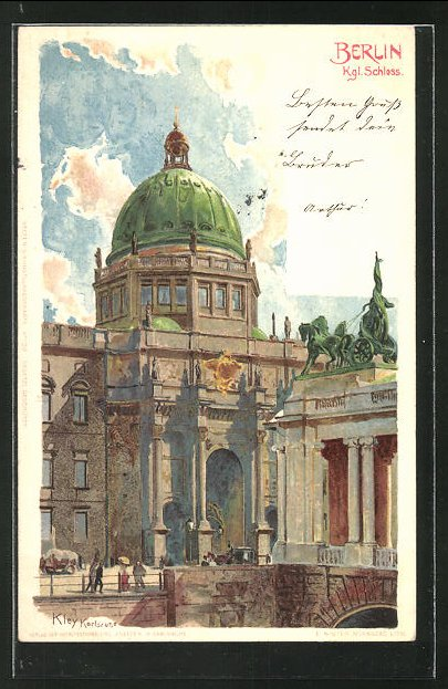 Künstler-AK Heinrich Kley: Berlin, Partie am Kgl. Schloss