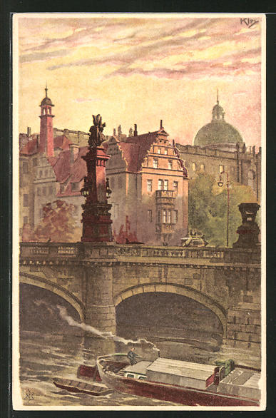 Künstler-AK Heinrich Kley: Berlin, Blick auf Kaiser Wilhelm-Brücke und Schloss