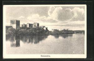 AK Semendria, Blick vom Wasser zur Festung