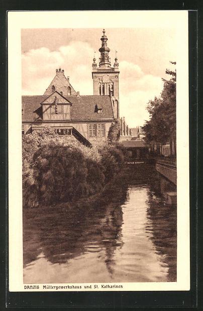 AK Danzig / Gdansk, Müllergewerkshaus und St. Katharinen