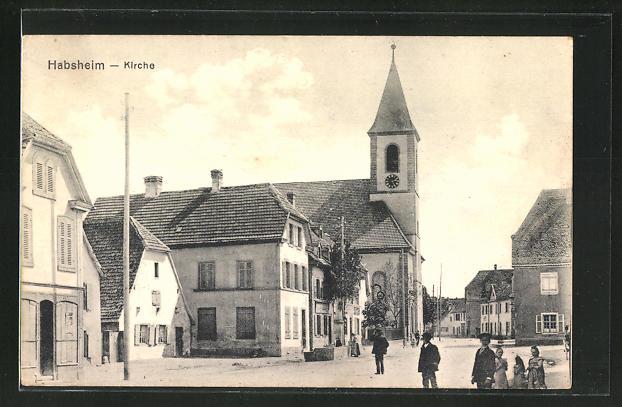 AK Habsheim, Strassenpartie an der Kirche