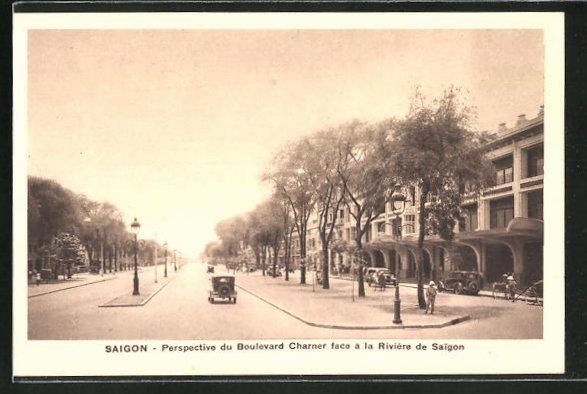 AK Saigon, Perspective du Boulevard Charner face a la Rivière de Saigon