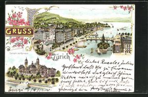 Lithographie Zürich, Tonhalle am Alpenquai, Teilansicht aus der Vogelschau