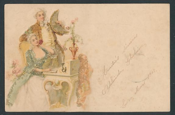 Glitzer-Perl-AK Mann und Frau schreiben einen Brief mit Glitzer-Perlen