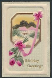 Präge-Airbrush-AK rosa Rosen mit Partie am Dorfrand