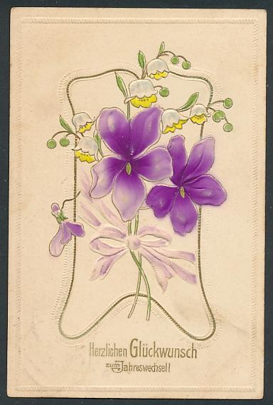 Präge-Airbrush-AK lila Blumen mit Maiglöckchen und Goldverzierungen
