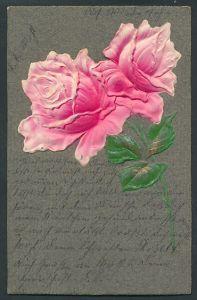Präge-Airbrush-AK rosa Rosen mit leicht goldenen Blättern