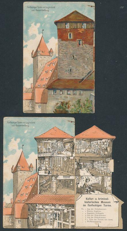 Mechanische-AK Fünfeckiger Turm mit Luginsland und Kaiserstallung, Kultur- & kriminal-historisches Museum im Turm
