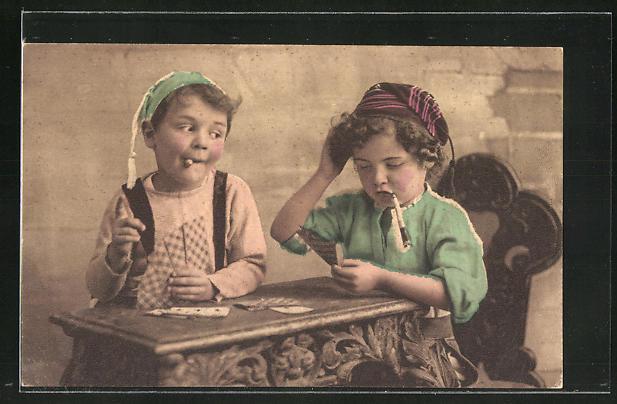 AK Kinder beim Kartenspiel
