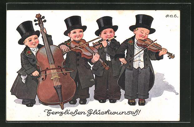 Künstler-AK P. O. Engelhard (P.O.E.): Glückwunschkarte, 4 Kinder in Anzügen spielen Instrumente
