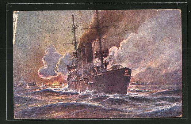 Künstler-AK Willy Stoewer: Kolonialkriegerdank, Beschiessung von Madras (Brit. Indien) durch S.W. Kreuzer Emden