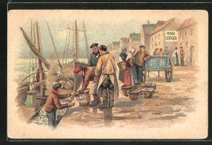Lithographie Fischer beim Entladen ihrer Boote