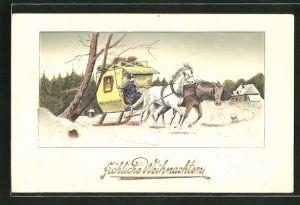 AK Postkutsche wird von Pferden durch den Schnee gezogen