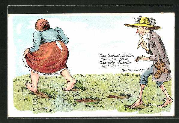 AK Mann läuft einer Frau mit kaputtem Rock hinterher, Erotik, Badekultur