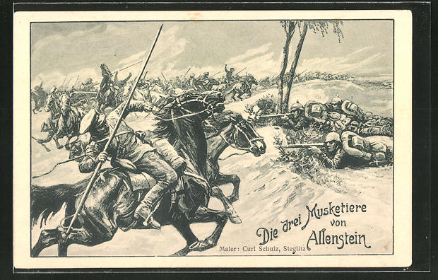 Künstler-AK Curt Schulz-Steglitz: Die drei Musketiere schlagen bei Allenstein 50 russische Kosaken in die Flucht