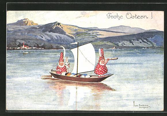 Künstler-AK Hans Boettcher: Zwerge reisen auf einem kleinen Segelboot mit bunten Ostereiern