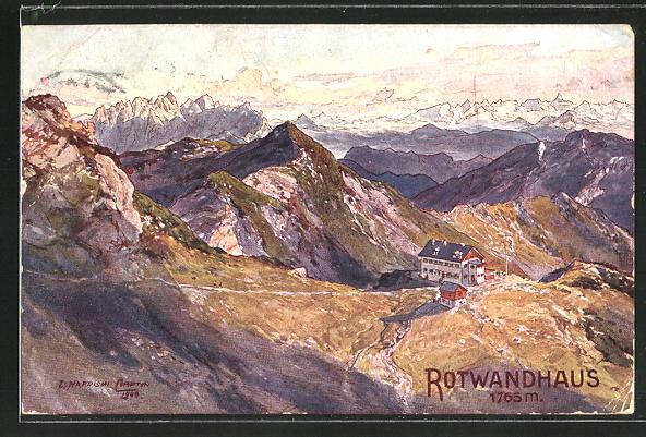Künstler-AK Edward Harrison Compton: Rotwandhaus auf einem Berg mit Gebirgspanorama