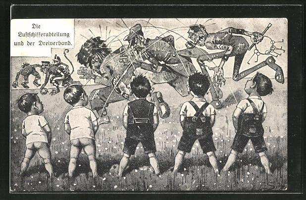 Künstler-AK Ernst Schlemo: Die Luftschifferabteilung und der Dreiverband, Propaganda