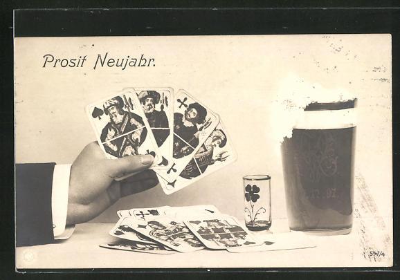 AK Prosit Neujahr, Kartenspiel und Bier, vier Buben