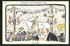 Lithographie Voyage en Russie 1902, Vive Loubet!